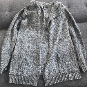 Grey cotton cardigan with hoodie